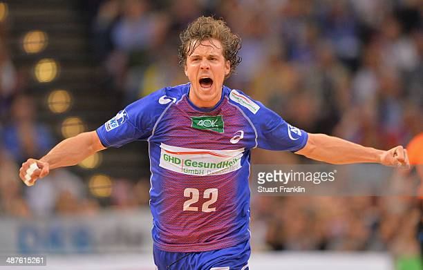 Kentin Mahee of Hamburg celebrates during the DKB Bundesliga handball game between HSV Hamburg and SG Flensburg Handewitt at O2 World on May 1 2014...