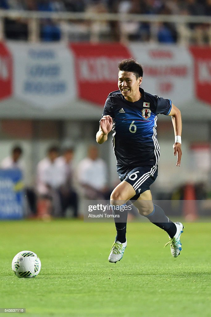 Kento Hashimoto of Japan in action during the U-23 international friendly match between Japan and South Africa at the Matsumotodaira Football Stadium on June 29, 2016 in Matsumoto, Nagano, Japan.