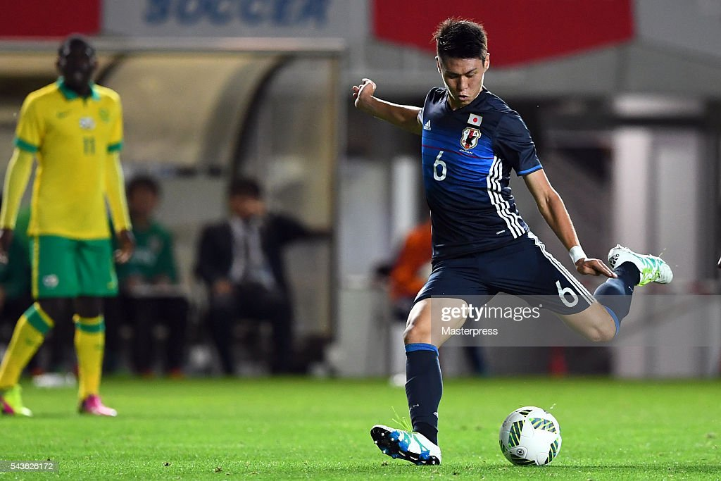 Kento Hashimoto of Japan in action during the U-23 international friendly match between Japan v South Africa at the Matsumotodaira Football Stadium on June 29, 2016 in Matsumoto, Nagano, Japan.