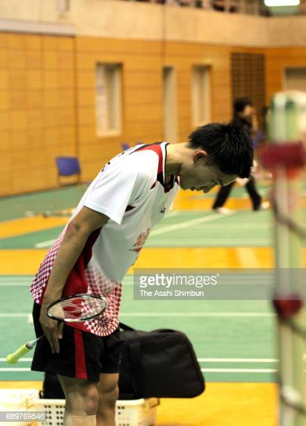 Kento Momota bows after the Men's Singles match against Shu Wada during day one of the Badminton Japan Ranking Circuit Championship at Saitama City...