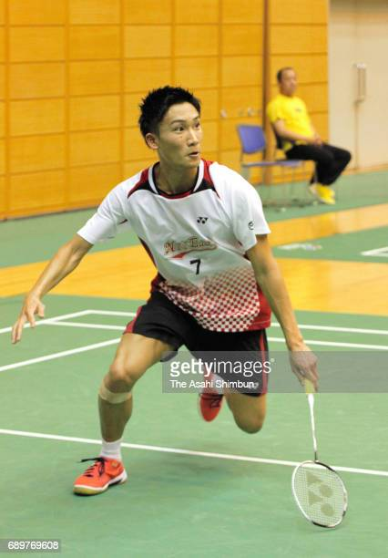 Kento Momota competes in the Men's Singles match against Shu Wada during day one of the Badminton Japan Ranking Circuit Championship at Saitama City...