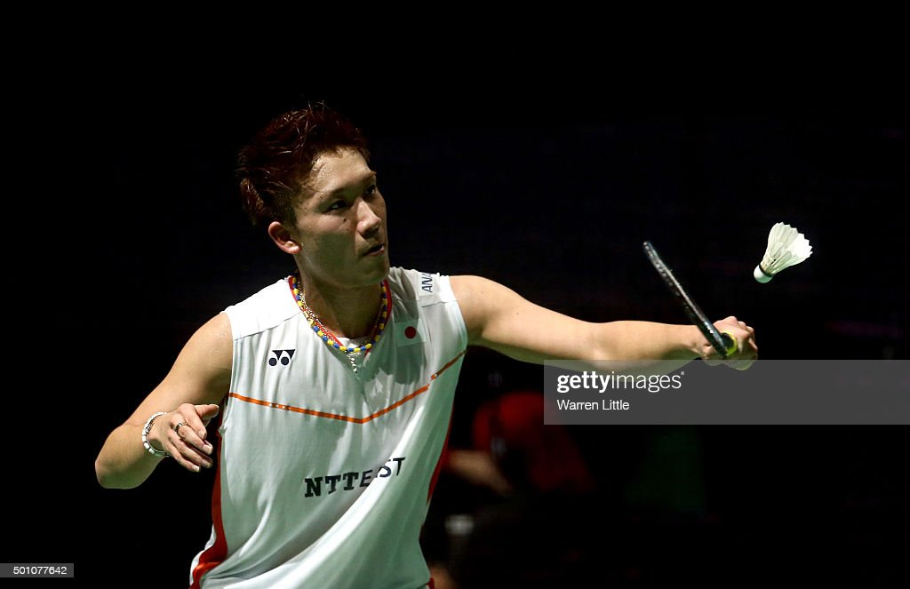 <a gi-track='captionPersonalityLinkClicked' href=/galleries/search?phrase=Kento+Momota&family=editorial&specificpeople=9148050 ng-click='$event.stopPropagation()'>Kento Momota</a> of Japan in action against Jan O' Jorgensen of Denmark in the semi final of the Men's Singles matches during day four of the BWF Dubai World Superseries 2015 Finals at the Hamdan Sports Complex on December 12, 2015 in Dubai, United Arab Emirates.
