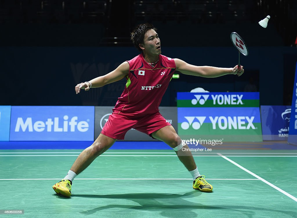 <a gi-track='captionPersonalityLinkClicked' href=/galleries/search?phrase=Kento+Momota&family=editorial&specificpeople=9148050 ng-click='$event.stopPropagation()'>Kento Momota</a> of Japan in action against Kidambi Srikanth of India in the Mens Singles during day one of the BWF Destination Dubai World Superseries Finals at the Hamdan Sports Complex on December 17, 2014 in Dubai, United Arab Emirates.