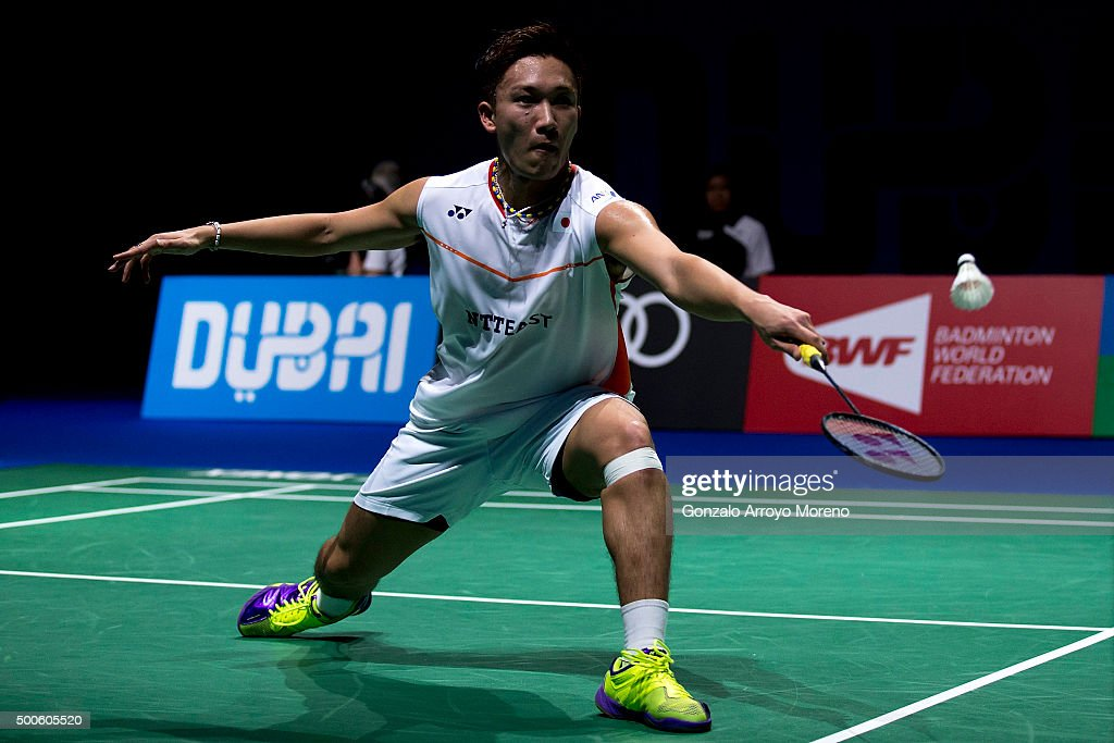 <a gi-track='captionPersonalityLinkClicked' href=/galleries/search?phrase=Kento+Momota&family=editorial&specificpeople=9148050 ng-click='$event.stopPropagation()'>Kento Momota</a> of Japan in action in his men's singles match against Sirkanth Kidambi of India during day one of the BWF Dubai World Superseries 2015 Finals at the Hamdan Sports Complex on on December 9, 2015 in Dubai, United Arab Emirates