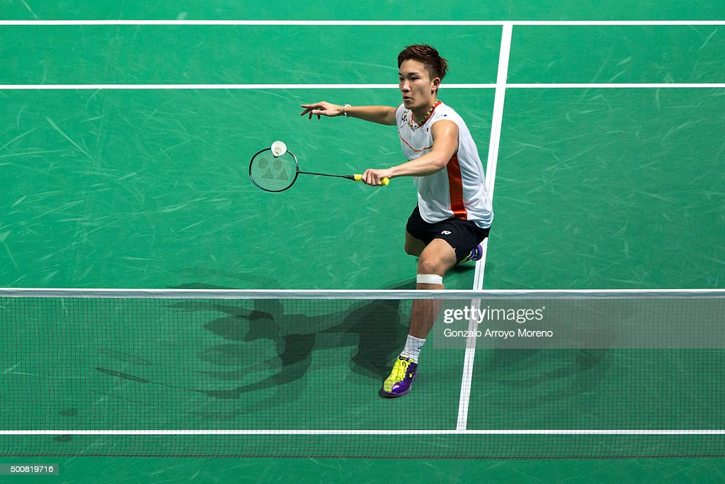 <a gi-track='captionPersonalityLinkClicked' href=/galleries/search?phrase=Kento+Momota&family=editorial&specificpeople=9148050 ng-click='$event.stopPropagation()'>Kento Momota</a> of Japan in action in the Men's Singles match against Chou Tien Chen of Chinese Taipei during day two of the BWF Dubai World Superseries 2015 Finals at the Hamdan Sports Complex on December 10, 2015 in Dubai, United Arab Emirates.