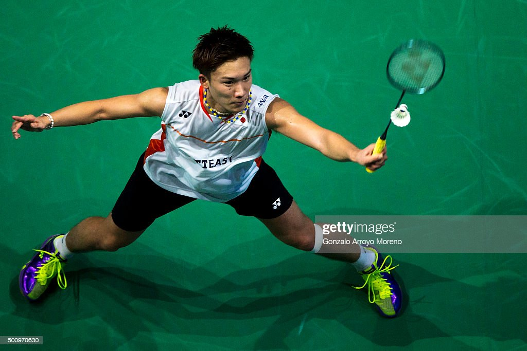 <a gi-track='captionPersonalityLinkClicked' href=/galleries/search?phrase=Kento+Momota&family=editorial&specificpeople=9148050 ng-click='$event.stopPropagation()'>Kento Momota</a> of Japan in action in the Men's Singles match against Viktor Axelsen of Denmark during day three of the BWF Dubai World Superseries 2015 Finals at the Hamdan Sports Complex on on December 11, 2015 in Dubai, United Arab Emirates.