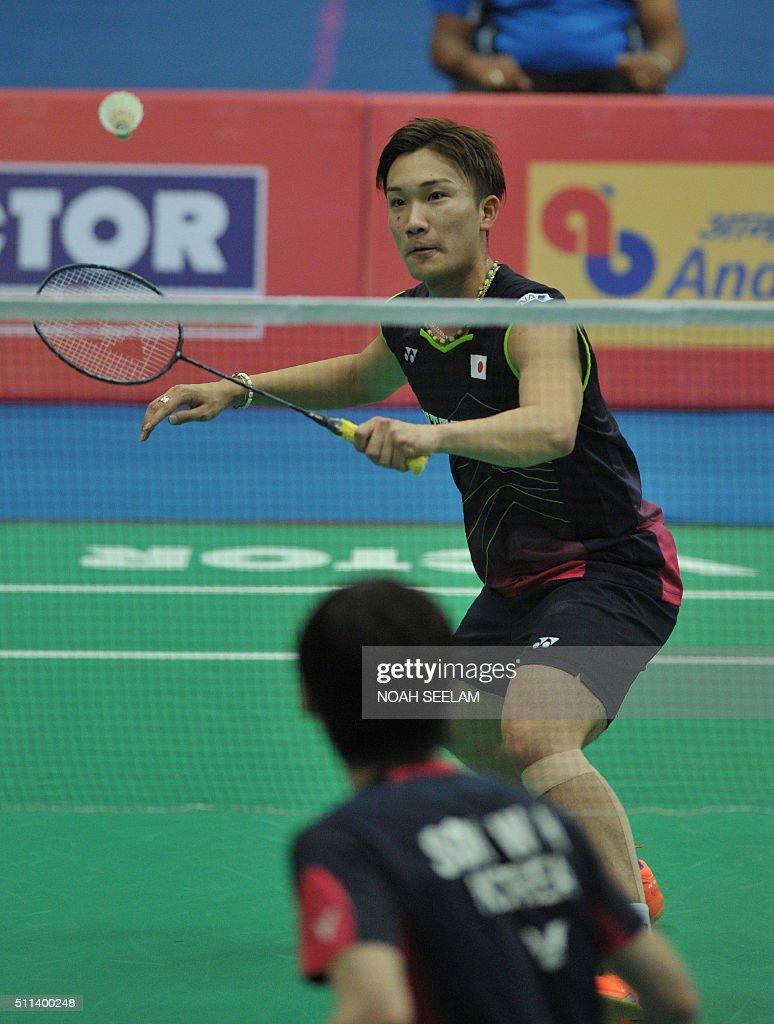 Kento Momota of Japan plays against Son Wan Ho of Korea during