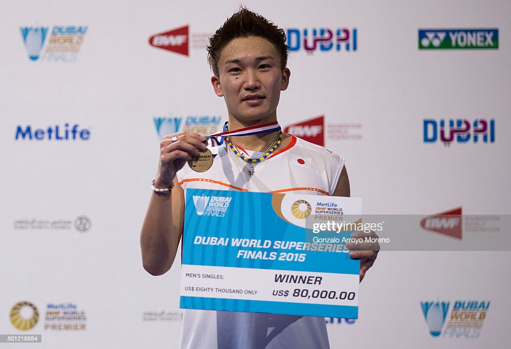 <a gi-track='captionPersonalityLinkClicked' href=/galleries/search?phrase=Kento+Momota&family=editorial&specificpeople=9148050 ng-click='$event.stopPropagation()'>Kento Momota</a> of Japan poses for a picture with his medal during the award ceremony after winning the Final Men,s Single match against Jan Viktor Axelsen of Denmark during day five of the BWF Dubai World Superseries 2015 Finals at the Hamdan Sports Complex on on December 13, 2015 in Dubai, United Arab Emirates.