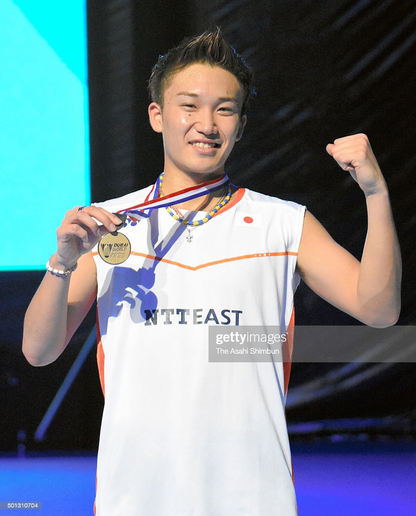 <a gi-track='captionPersonalityLinkClicked' href=/galleries/search?phrase=Kento+Momota&family=editorial&specificpeople=9148050 ng-click='$event.stopPropagation()'>Kento Momota</a> of Japan poses for photographs with his medal after winning the Men's Single Final match against Jan Viktor Axelsen of Denmark during day five of the BWF Dubai World Superseries 2015 Finals at the Hamdan Sports Complex on on December 13, 2015 in Dubai, United Arab Emirates.