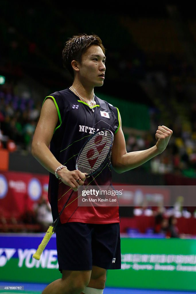 <a gi-track='captionPersonalityLinkClicked' href=/galleries/search?phrase=Kento+Momota&family=editorial&specificpeople=9148050 ng-click='$event.stopPropagation()'>Kento Momota</a> of Japan reacts after he wins the match between <a gi-track='captionPersonalityLinkClicked' href=/galleries/search?phrase=Kento+Momota&family=editorial&specificpeople=9148050 ng-click='$event.stopPropagation()'>Kento Momota</a> of Japan and Xue Song of China at Yonex-Sunrise Hong Kong Open 2015 on November 18, 2015 in Hong Kong, Hong Kong.