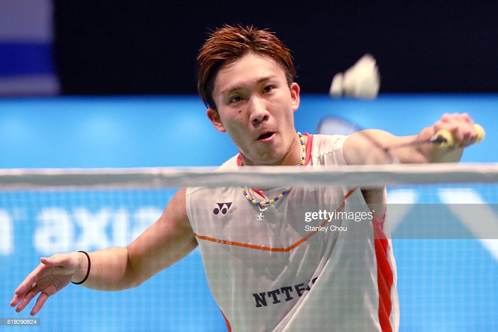 <a gi-track='captionPersonalityLinkClicked' href=/galleries/search?phrase=Kento+Momota&family=editorial&specificpeople=9148050 ng-click='$event.stopPropagation()'>Kento Momota</a> of Japan returns to H.S. Prannoy of India during round one of the BWF World Super Series Badminton Malaysia Open at Stadium Malawati on April 6, 2016 in Shah Alam, Malaysia.