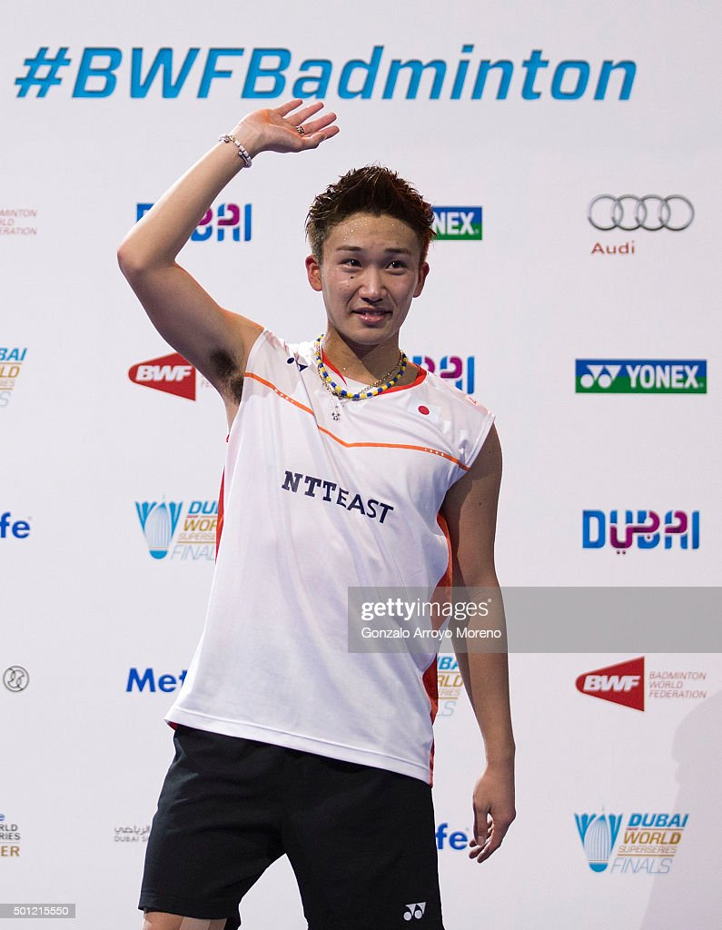 <a gi-track='captionPersonalityLinkClicked' href=/galleries/search?phrase=Kento+Momota&family=editorial&specificpeople=9148050 ng-click='$event.stopPropagation()'>Kento Momota</a> of Japan waves the crowd during the award ceremony after winning the Final Men,s Single match against Jan Viktor Axelsen of Denmark during day five of the BWF Dubai World Superseries 2015 Finals at the Hamdan Sports Complex on on December 13, 2015 in Dubai, United Arab Emirates.