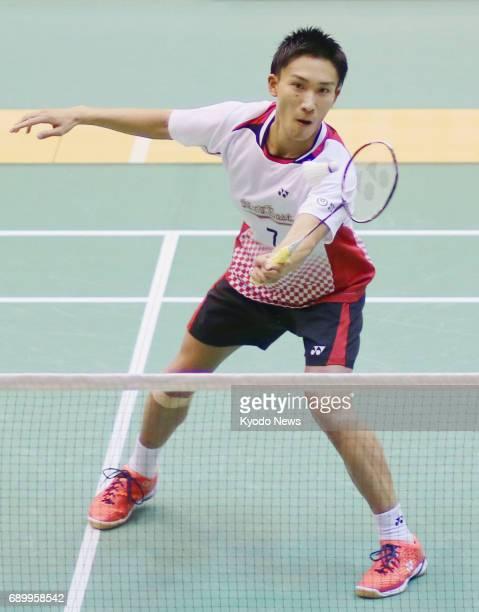 Kento Momota plays his semifinal match against Riichi Takeshita at the Japan Ranking Circuit badminton tournament in Saitama north of Tokyo on May 30...