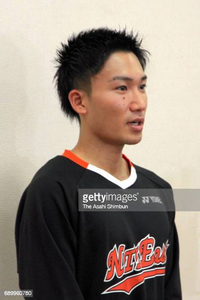 Kento Momota speaks to media reporters after comepting in the Men's Singles match against Shu Wada during day one of the Badminton Japan Ranking...
