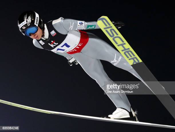 Kento Sakuyama of Japan competes in the qualification of the FIS Ski Jumping World Cup PyeongChang at Alpensia Ski Jumping Center on February 14 2017...