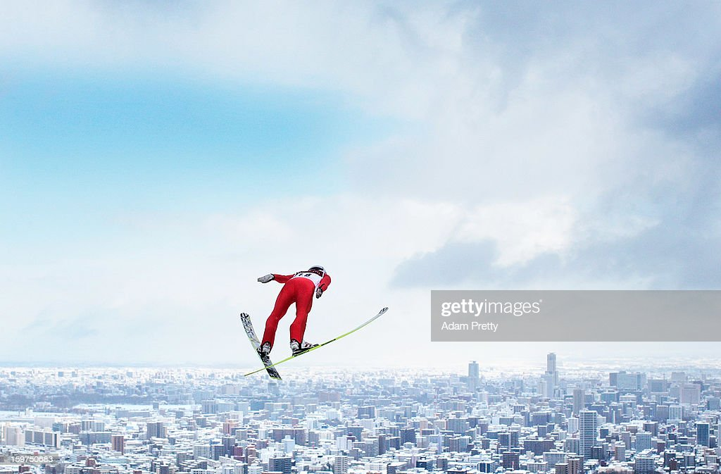 Kento Sakuyama of Japan in action during day two of the FIS Men's Ski Jumping World Cup at Okurayama Jump Stadium on January 20, 2013 in Sapporo, Japan.