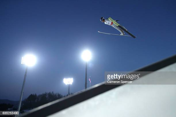 Kento Sakuyama of Japan jumps during trainining for the 2017 FIS Ski Jumping World Cup test event For PyeongChang 2018 at Alpensia Ski Jumping Center...