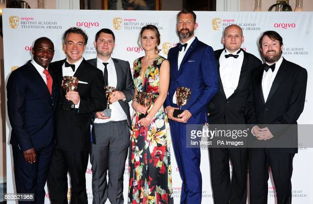 Kenton Allen Stefan Golaszewski Lyndsay Robinson and Richard Laxton with the Situation Comedy Award for Him and Her the Wedding alongside presenters...