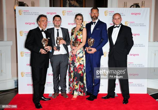 Kenton Allen Stefan Golaszewski Lyndsay Robinson and Richard Laxton with the Situation Comedy Award for Him and Her the Wedding at the Arqiva British...