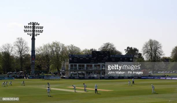 Kent's Daniel BellDrummond hits out from the bowling of Gloucestershire's Liam Norwell during day one of the Specsavers County Cricket Championships...