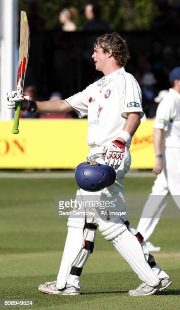 Kent's kent batsman Sam Northeast celebrates reaching his centaury during the Liverpool Victoria County Championship Division Two match at the Ford...