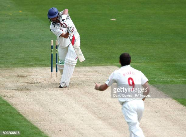 Kent's Sam Northeast is bowled by Glamorgan's James Harris for 15 during the LV County Championship Division Two match at the SWALEC Stadium Cardiff