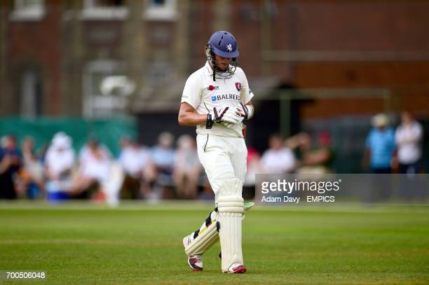 Kent's Sam Northeast leaves the field dejected after losing his wicket