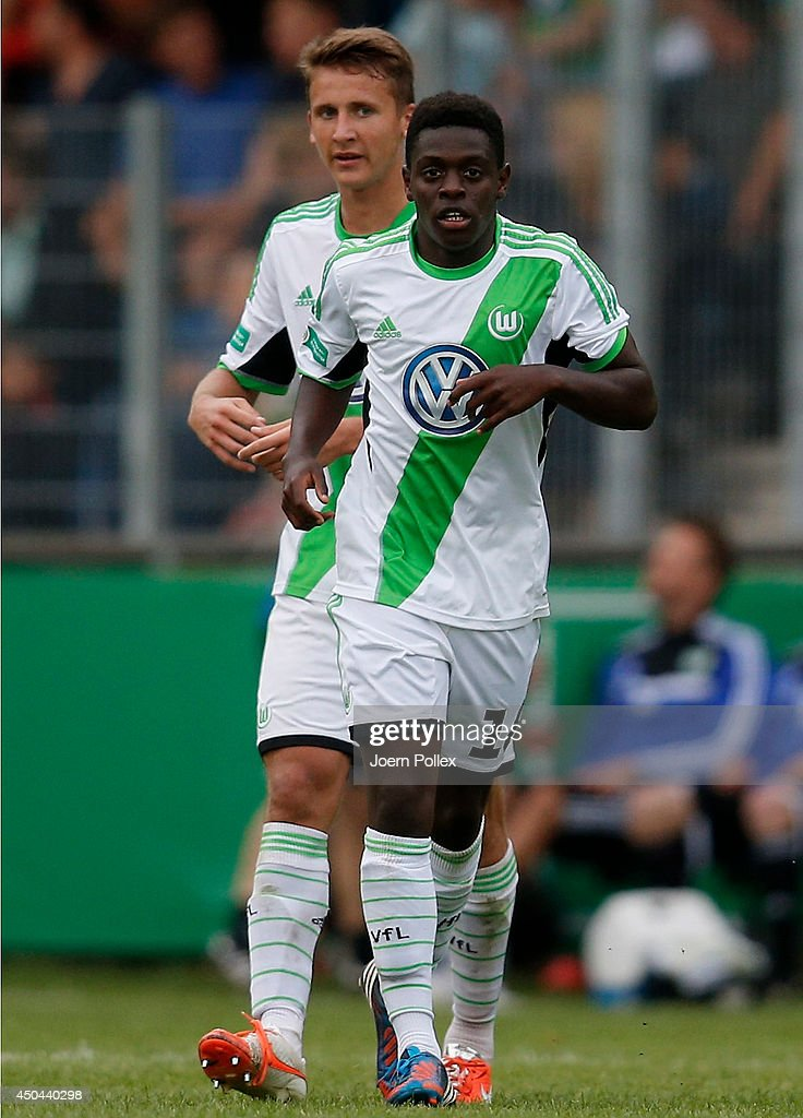 Kentu Malcolm Badu (R) of Wolfsburg is pictured after scoring his team's first goal during the A Juniors Bundesliga Semi Final at Beekestadium on June 11, 2014 in Hanover, Germany.