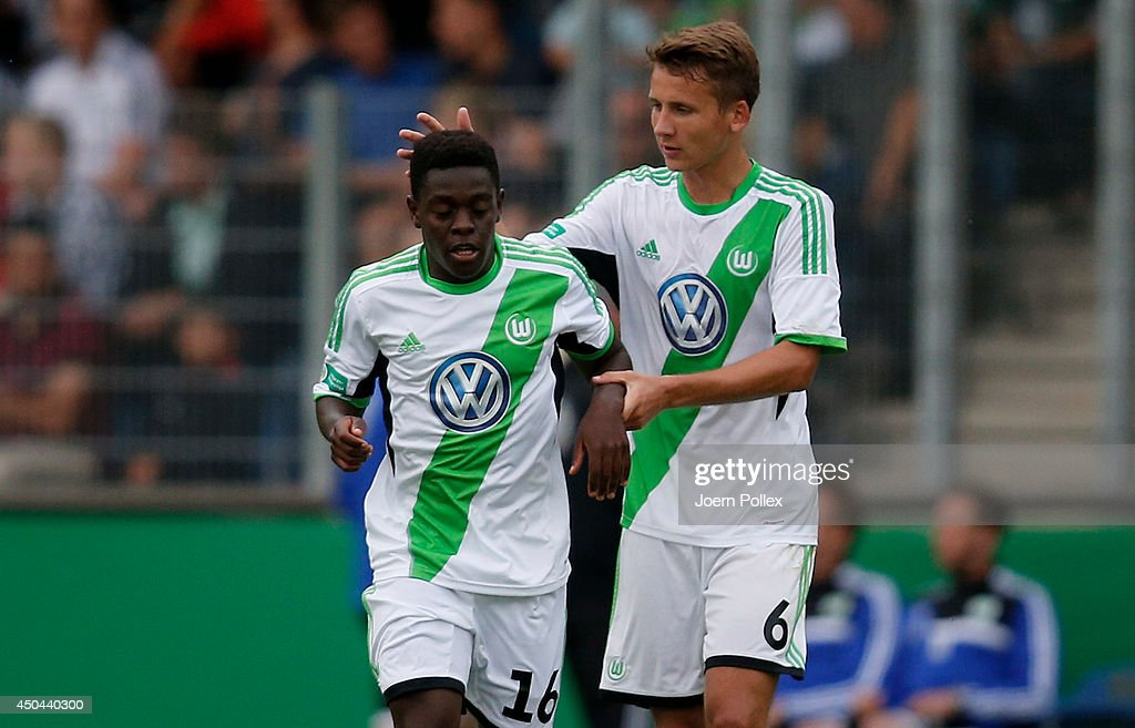 Kentu Malcolm Badu (L) of Wolfsburg is pictured after scoring his team's first goal during the A Juniors Bundesliga Semi Final at Beekestadium on June 11, 2014 in Hanover, Germany.