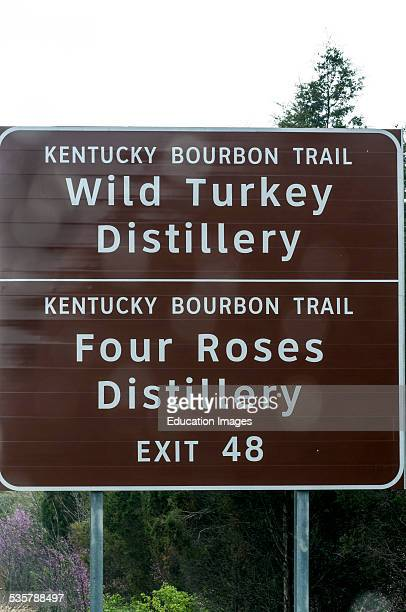 Kentucky Bourbon Trail Road Sign to the Wild Turkey and Four Roses distilleries