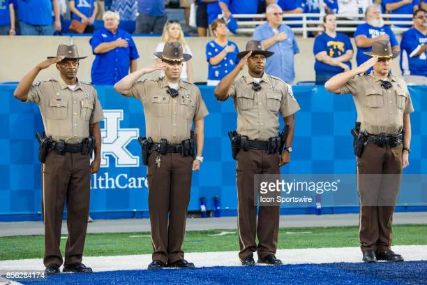 Kentucky County Sheriffs presenting for the National Anthem during a regular season college football game between the Florida Gators and the Kentucky...
