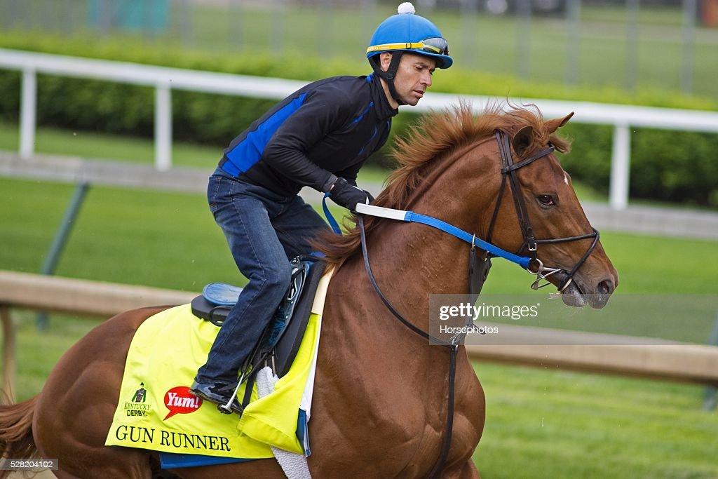 Kentucky Derby contender Gun Runner gallops at Churchill Downs Race Track on May 04, 2016 in Louisville, Kentucky.