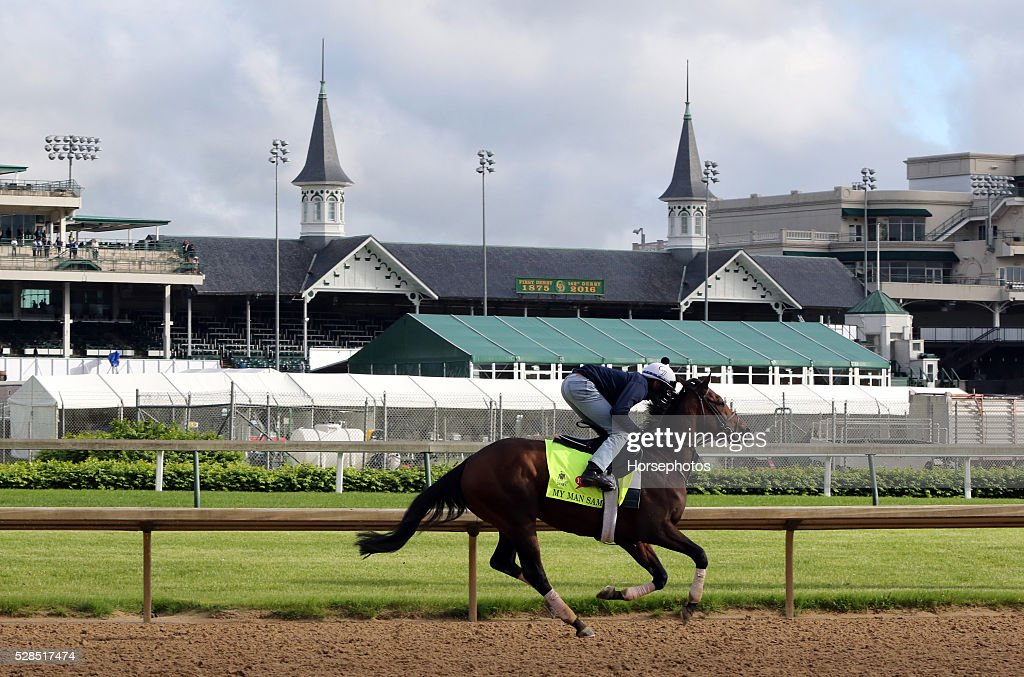 Kentucky Derby contender My Man Sam gallops at Churchill Downs Race Track on May 5, 2016 at Churchill Downs, Louisville