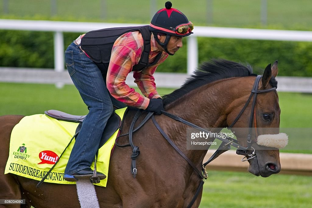 Kentucky Derby contender Suddenbreakingnews gallops at Churchill Downs Race Track on May 04, 2016 in Louisville, Kentucky.