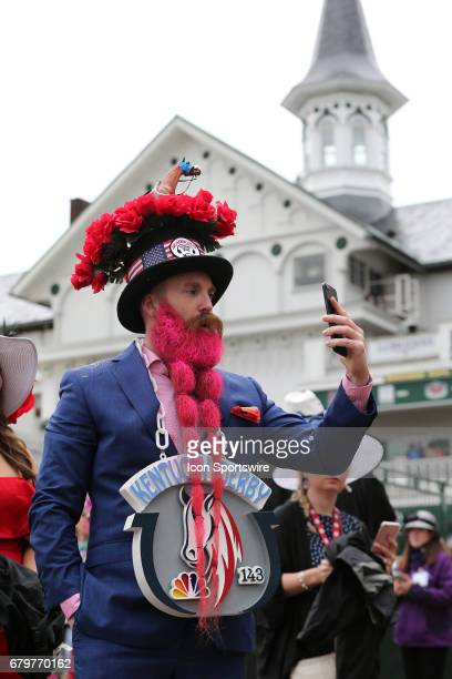 Kentucky Derby fan shows off his style and hat in a Facebook Live feed prior to the running of the 143rd Kentucky Derby on May 06 2017 at Churchill...