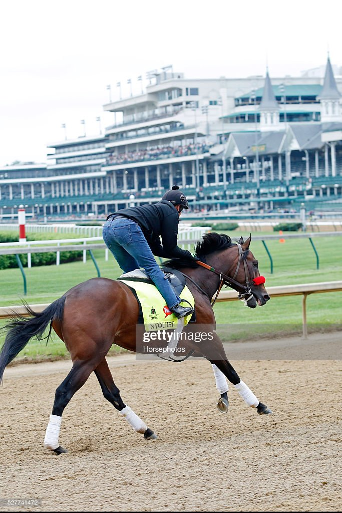 Kentucky Derby favorite Nyquist gallops in front of twin spires at Churchill Downs Race Track on May 3, 2016 at Churchill Downs in Louisville, Kentucky.