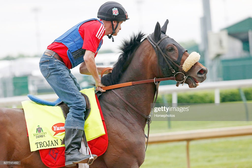 Kentucky Derby favorite Trojan Nation gallops during workouts at Churchill Downs Race Track on May 3, 2016 at Churchill Downs in Louisville, Kentucky.