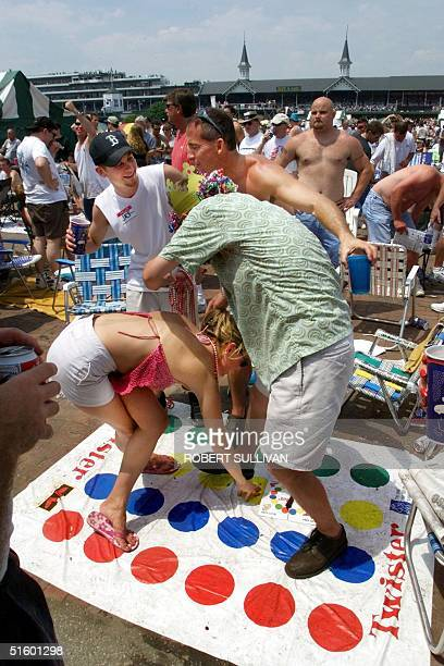 Kentucky Derby race fan play the game Twister 05 May 2001 in the infield at Churchill Downs in Louisville Kentucky The 127th running of the Kentucky...