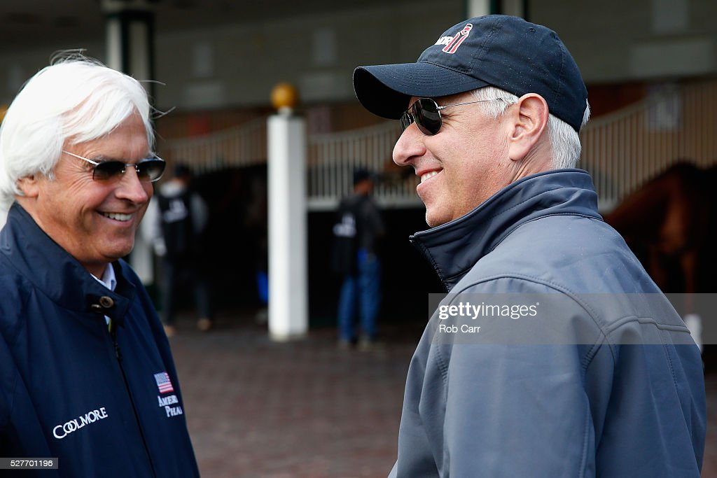 Kentucky Derby trainers <a gi-track='captionPersonalityLinkClicked' href=/galleries/search?phrase=Bob+Baffert&family=editorial&specificpeople=215143 ng-click='$event.stopPropagation()'>Bob Baffert</a> (L) and <a gi-track='captionPersonalityLinkClicked' href=/galleries/search?phrase=Todd+Pletcher&family=editorial&specificpeople=201212 ng-click='$event.stopPropagation()'>Todd Pletcher</a> talk in the paddock while schooling horses at Churchill Downs on May 03, 2016 in Louisville, Kentucky.