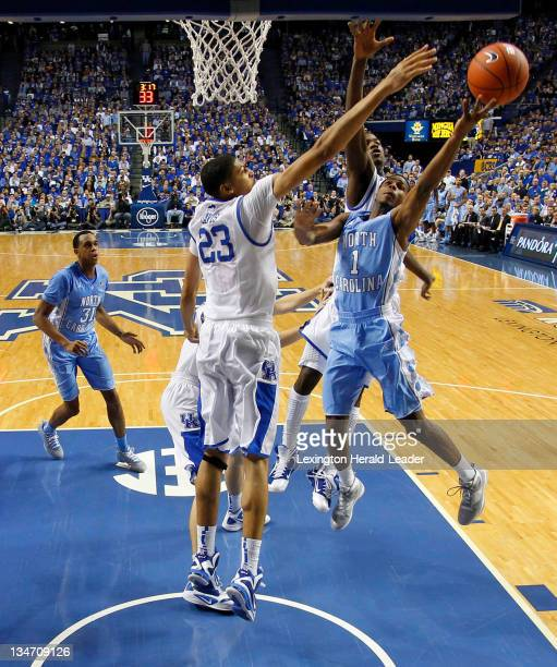 Kentucky forward Anthony Davis blocked the shot of North Carolina's guard Dexter Strickland during a men's college basketball game The University of...
