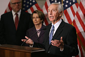 Kentucky Governor Steve Beshear talks to reporters after attending a caucus meeting with House Minority Leader Nancy Pelosi Rep Joseph Crowley and...