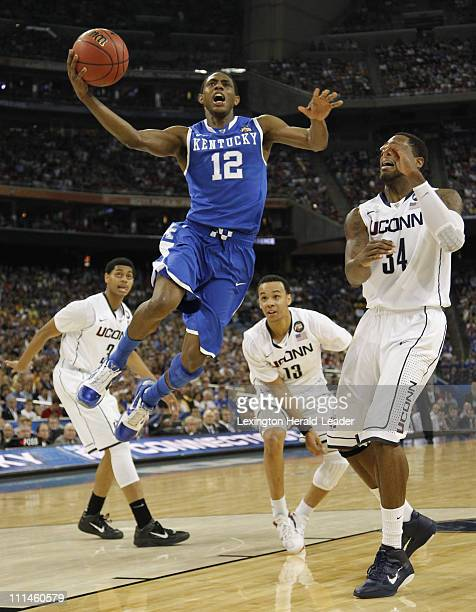 Kentucky guard Brandon Knight goes to the basket against Connecticut during the second half in men's NCAA Final Four semifinals at Reliant Stadium in...