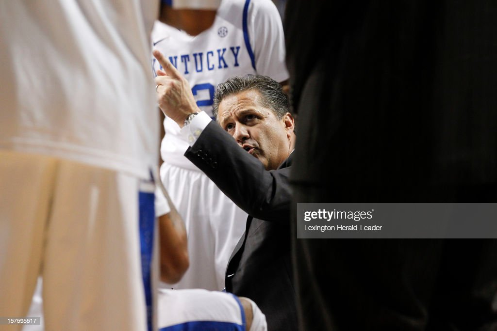 Kentucky head coach John Calipari fires up his team in the huddle against Samford at Rupp Arena on Tuesday, December 4, 2012, in Lexington, Kentucky. Kentucky defeated Samford 88-56.