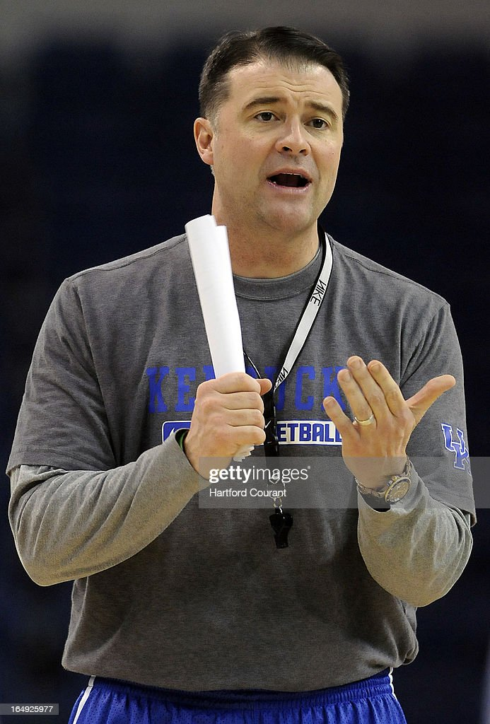 Kentucky head coach Matthew Mitchell calls out a play during practice at the TD Bank Arena at Harbor Yard in Bridgeport, Connecticut, Friday, March 29, 2013.