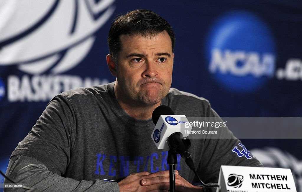 Kentucky head coach Matthew Mitchell contemplates the question as to how his Kentucky players planned on stopping Elena Delle Donne of Delaware during a news conference at the TD Bank Arena at Harbor Yard in Bridgeport, Connecticut, Friday, March 29, 2013.