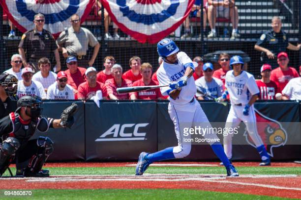 Kentucky outfielder Tristan Pompey at bat hit for Kentucky during the College World Series Super Regional baseball game between the Kentucky Wildcats...