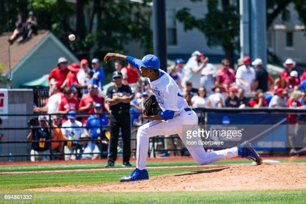 Kentucky right handed pitcher Justin Lewis pitches during the College World Series Super Regional baseball game between the Kentucky Wildcats and the...