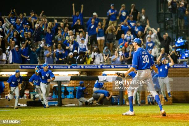 Kentucky right handed pitcher Sean Hjelle showing emotion to the crowd after striking out the last batter and Kentucky winning the College World...