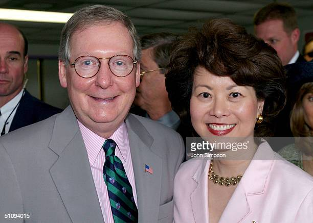 Kentucky Senator Mitch Mcconnell Poses With His Wife US Labor Secretary Elaine Chao At The 128Th Running Of The Kentucky Derby At Churchill Downs May...