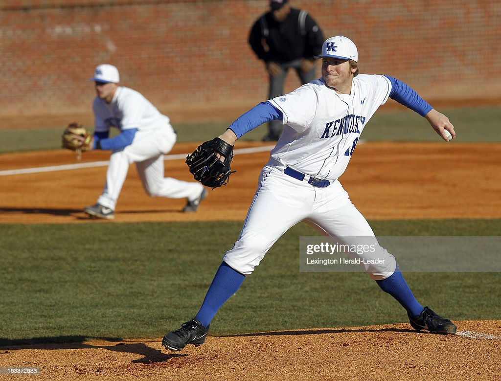 Kentucky starting pitcher A.J. Reed throws in the first inning against Michigan State at Cliff Hagan Stadium in Lexington, Kentucky, on Friday, March 8, 2013.